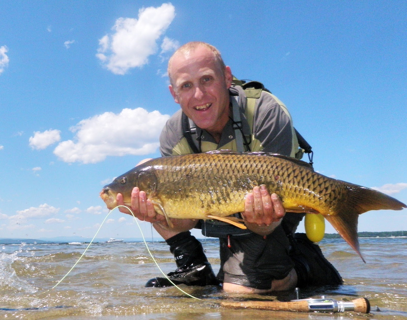 Drew price fly fishing carp in the surf for Fly fishing carp