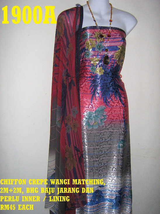 CCW 1900A: CHIFFON CREPE WANGI MATCHING, 2M+2M, BHG BAJU JARANG DAN PERLU INNER / LINING