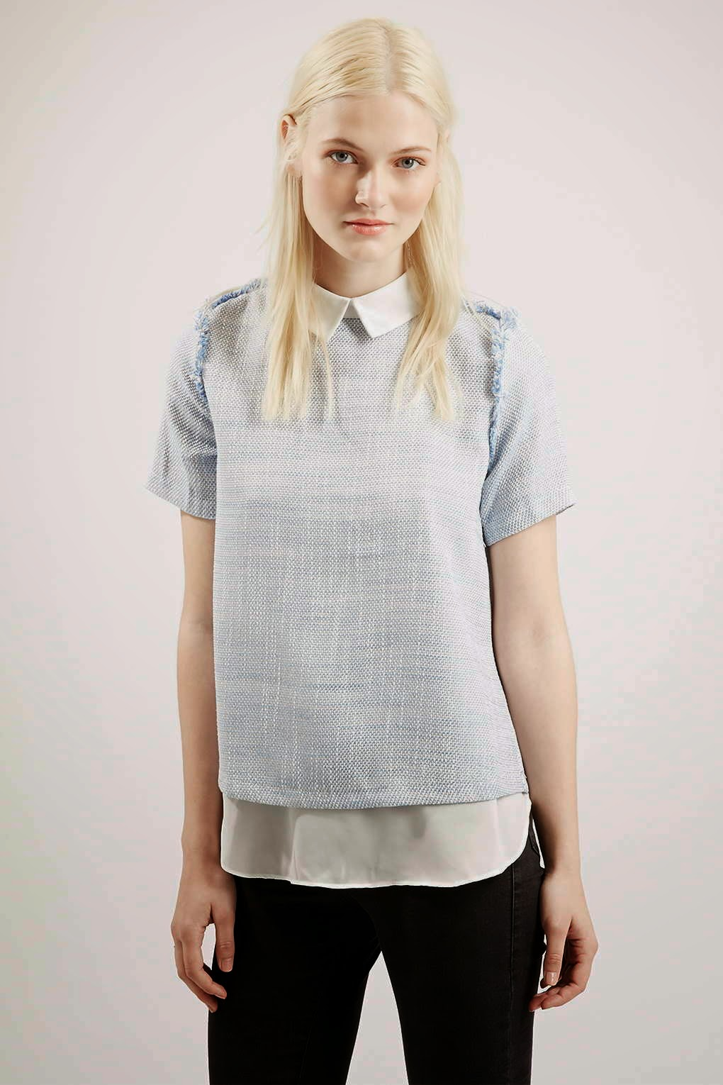 light blue sister jane top, pale blue blouse with white collar,