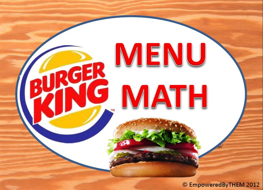Empowered By THEM Menu Math Burger King – Menu Math Printable Worksheets
