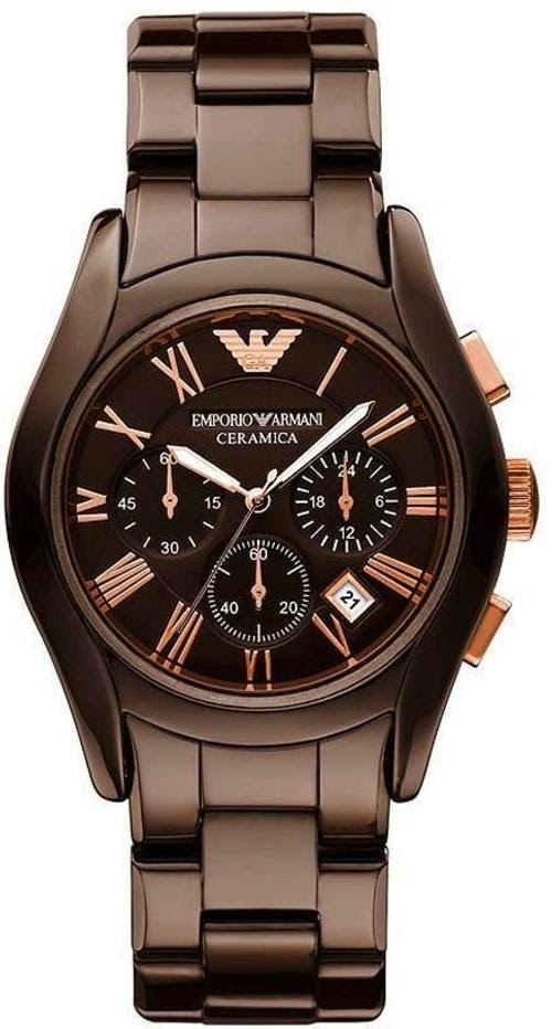 New emporio armani chronograph ceramica brown bronze gents watch for Ceramica chronograph