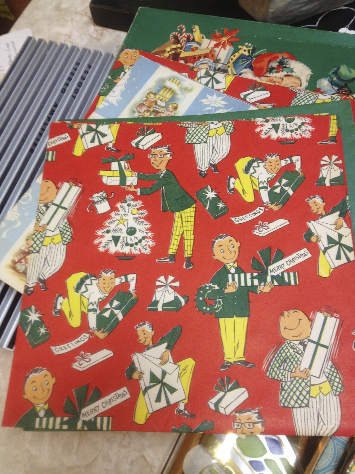well imagine my surprise when i bumped into a box of retro christmas wrapping paper 1950s 1960s while visiting the antique center of northampton mass - Vintage Christmas Wrapping Paper
