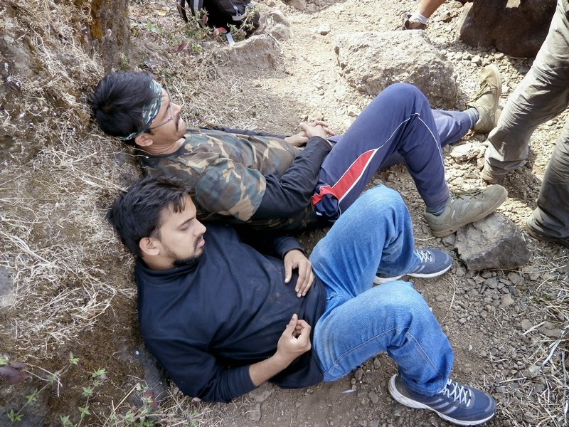 Shashank & Sanket dozing off while waiting for their rappelling turn