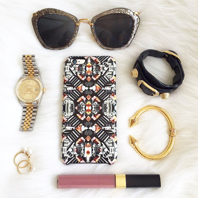 dannijo iphone6 case, balenciaga arena bracelet, fashion flat lay, miu miu glitter sunglasses, vita fede titan bracelet