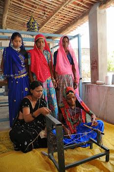 Tribal women learning handloom