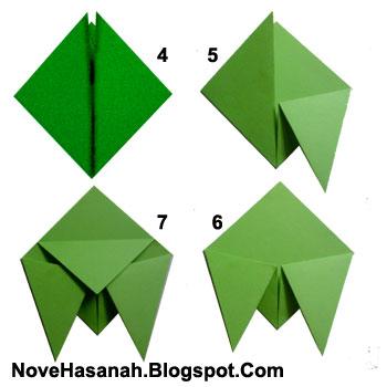 cara melipat kertas untuk membuat origami serangga tonggeret atau cicada yang unik 1