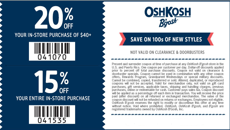 photograph about Osh Coupons Printable referred to as Oshkosh b gosh promo code - Print Sale
