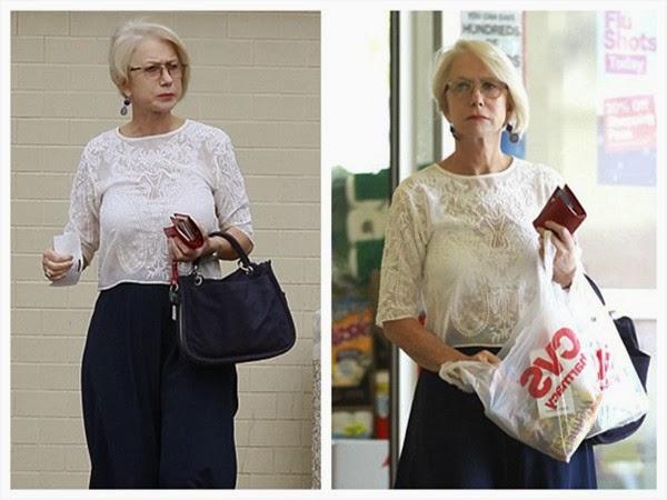 Helen Mirren Puts on Transition Glasses Outside