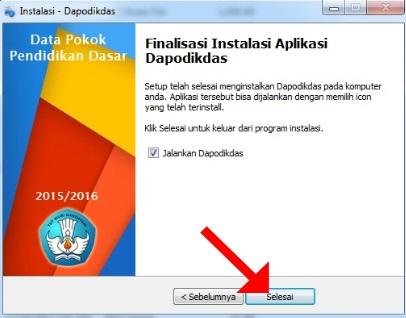 Finalisasi Instalasi Aplikasi Dapodikdas