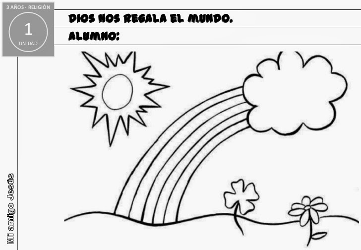 Mi clase de religión: Dibujos para colorear Infantil