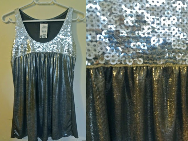 Grey silver sparkle sequins tank top, wet seal