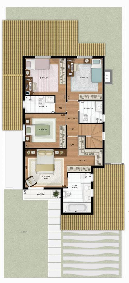 Planta de casa sobrado de 150 m2 plantas de casas - Casas on line ...