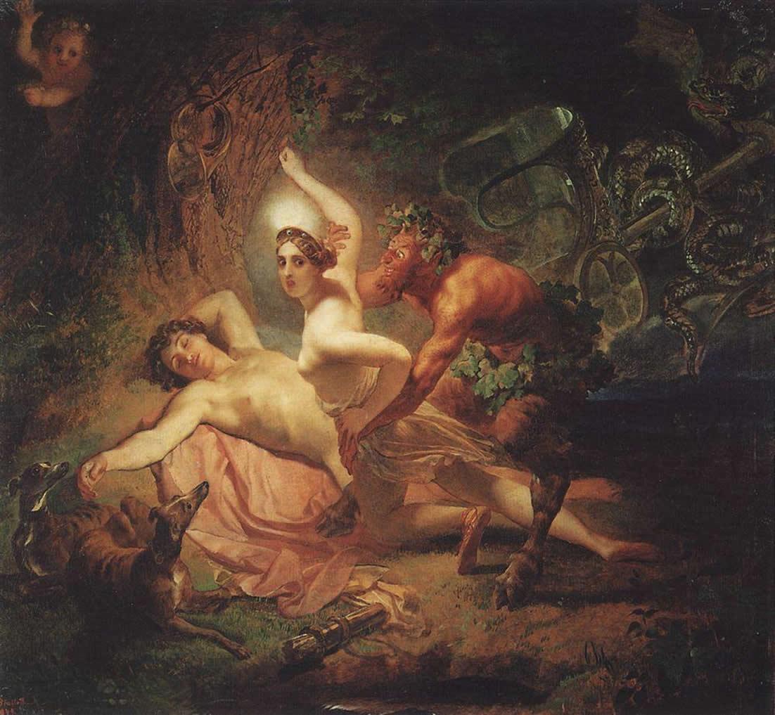 Karl   riullov  Diana C  Endymion  and  Satyr