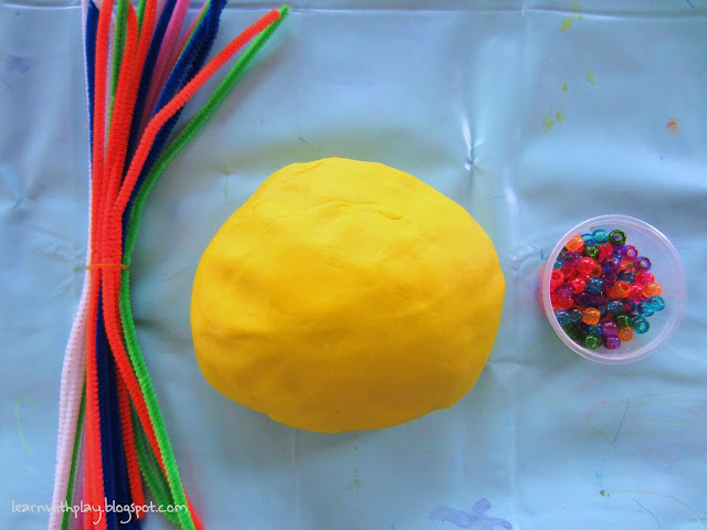 fun with playdough, kids activity, playdough, pipecleaners, beads and playdough, fun childrens activity