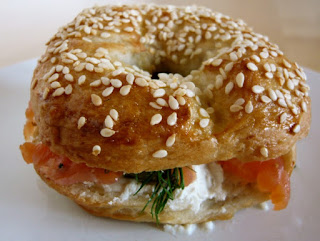 Lemon Passionfruit Butter Recipe on a poppy seed bagel with scallions and lox