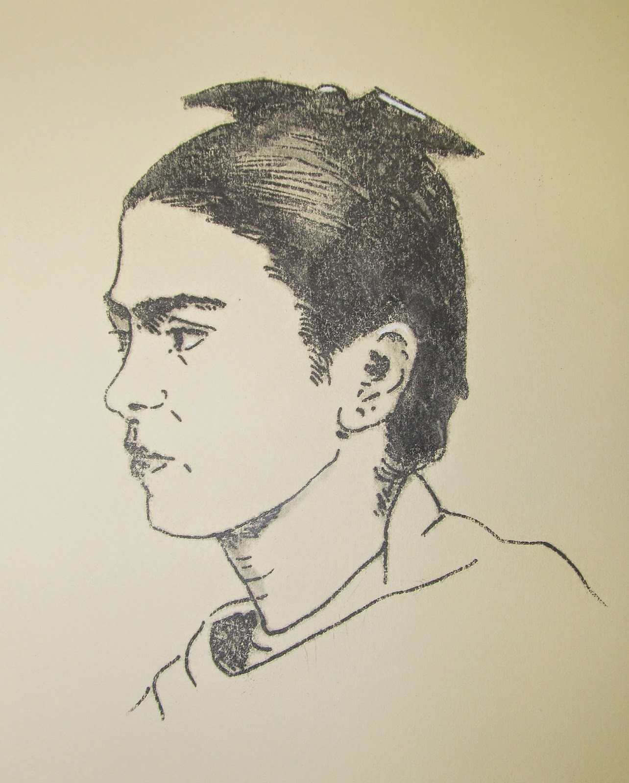 Frida Kahlo. Intaglio Etching. Edition of 10. 8 3/8 x 61/2 inches. Circa 1980 by F. Lennox Campello