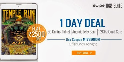 MTV Slate 3G Calling Tablet By Swipe worth Rs.14999 for Rs.12499 + Premium Leather Case worth Rs.2500 for FREE