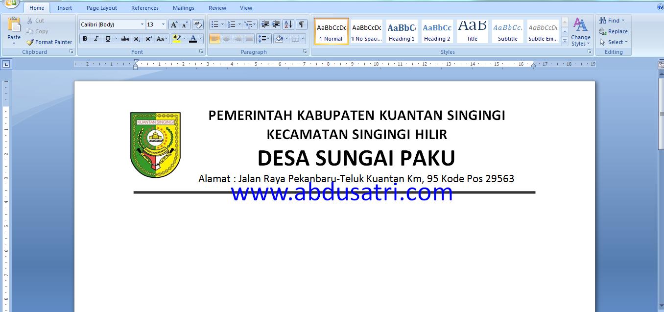 Kecamatan Singingi Hilir Kabupaten Kuantan Singingi