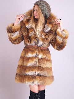 Vintage 1960's red fox fur bubble coat with large collar.