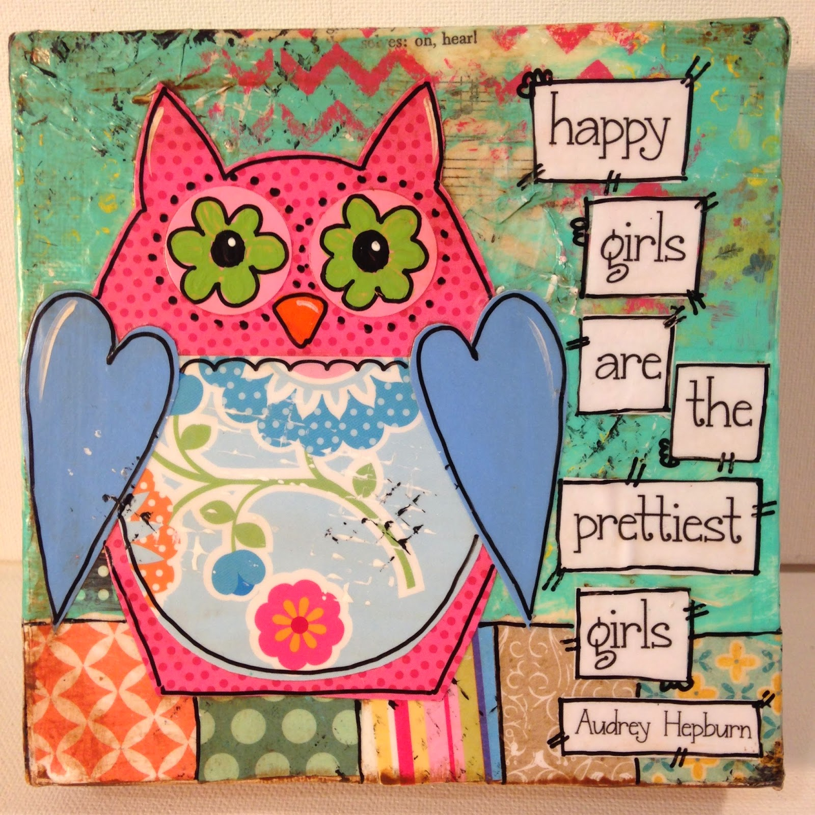 owl art, happy girls are the prettiest girls, mixed media, owl decor, owl, owls, chevron owl
