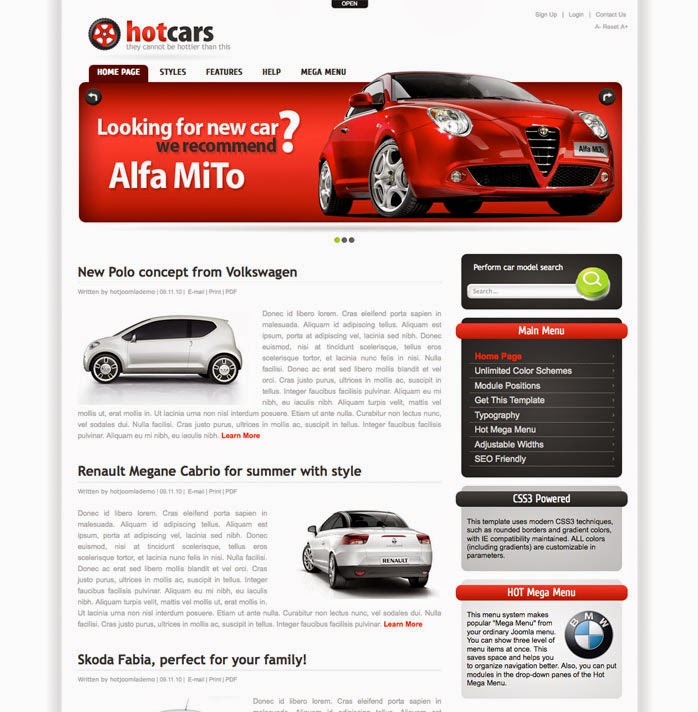 hot car hot templates joomla