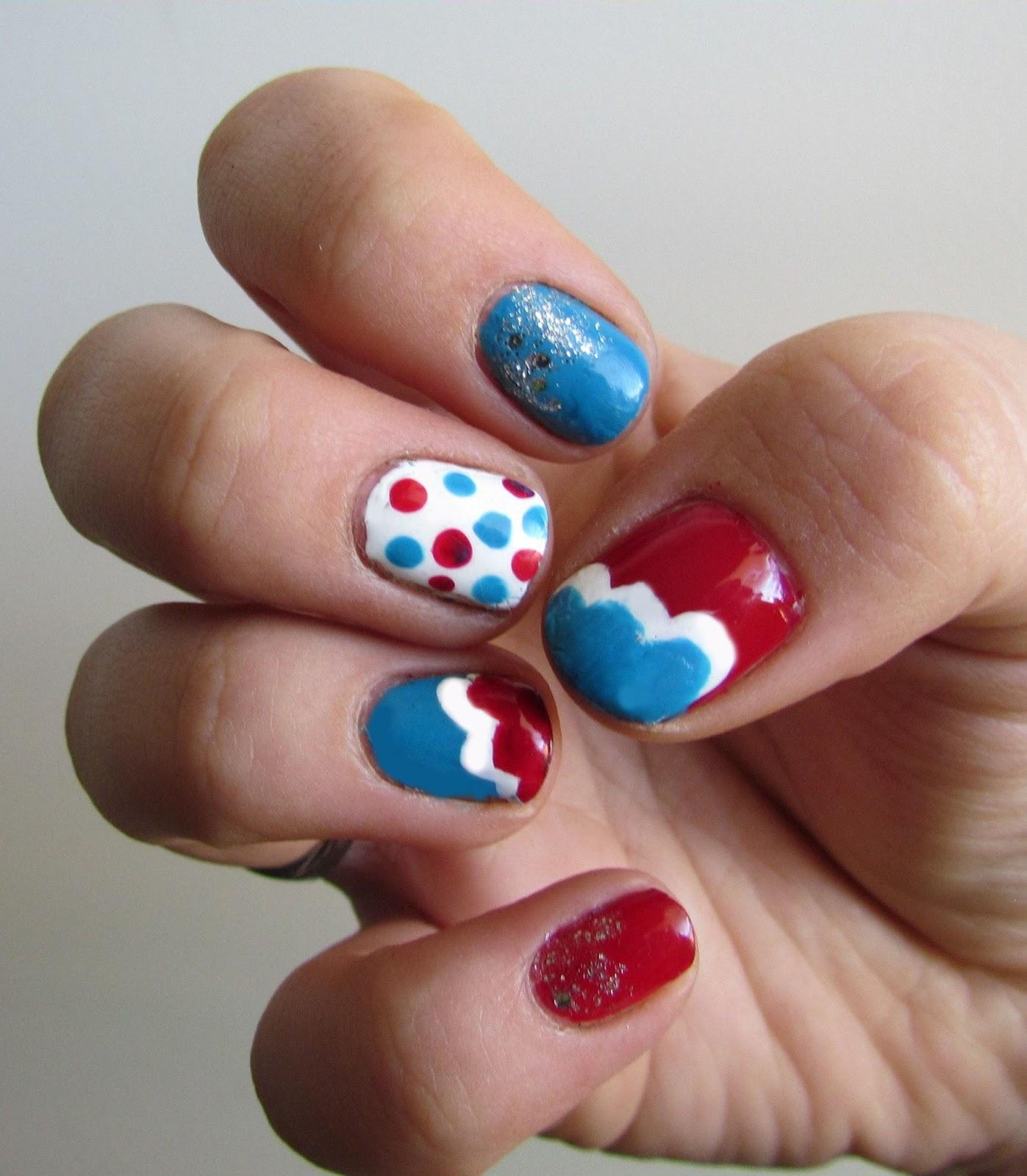 Playful Polishes June Nail Art Challenge Ocean Nails: Karen Loves Nail Polish: 4th Of July Nail Art Challenge
