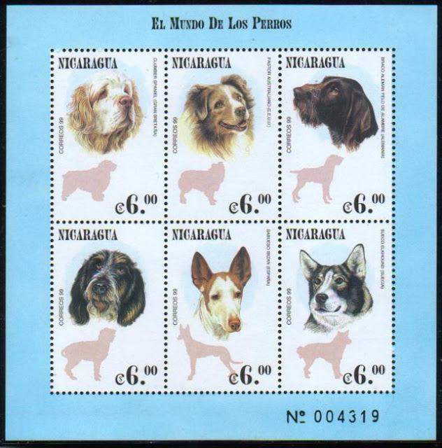 1999年ニカラグア共和国 クランバー・スパニエル オーストラリアン・シェパード ブラッコ・イタリアーノ 犬種不明(チェスキー・フォーセク?) イビザン・ハウンド ノルウェジアン・エルクハウンドの切手シート