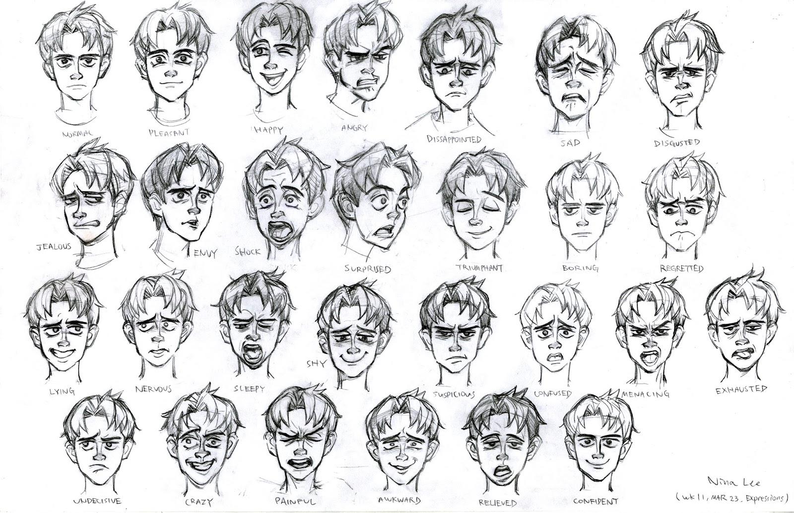 how to draw face expessions