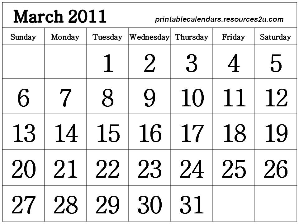 calendar 2011 template march. Free Calendar 2011 March to