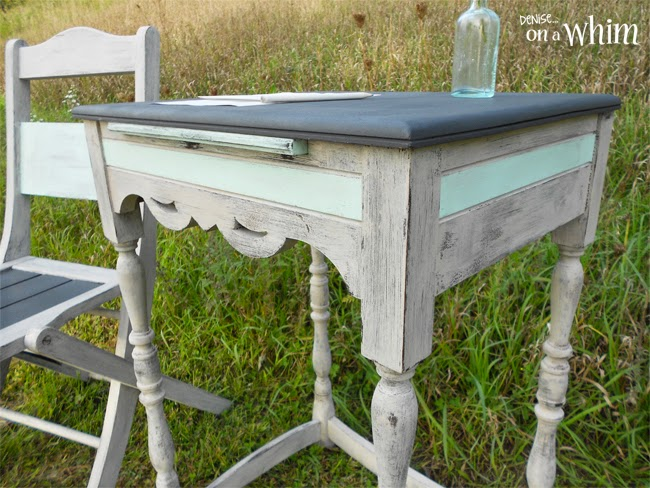Chalk Paint Antique Writing Table and Chair Makeover from Denise on a Whim