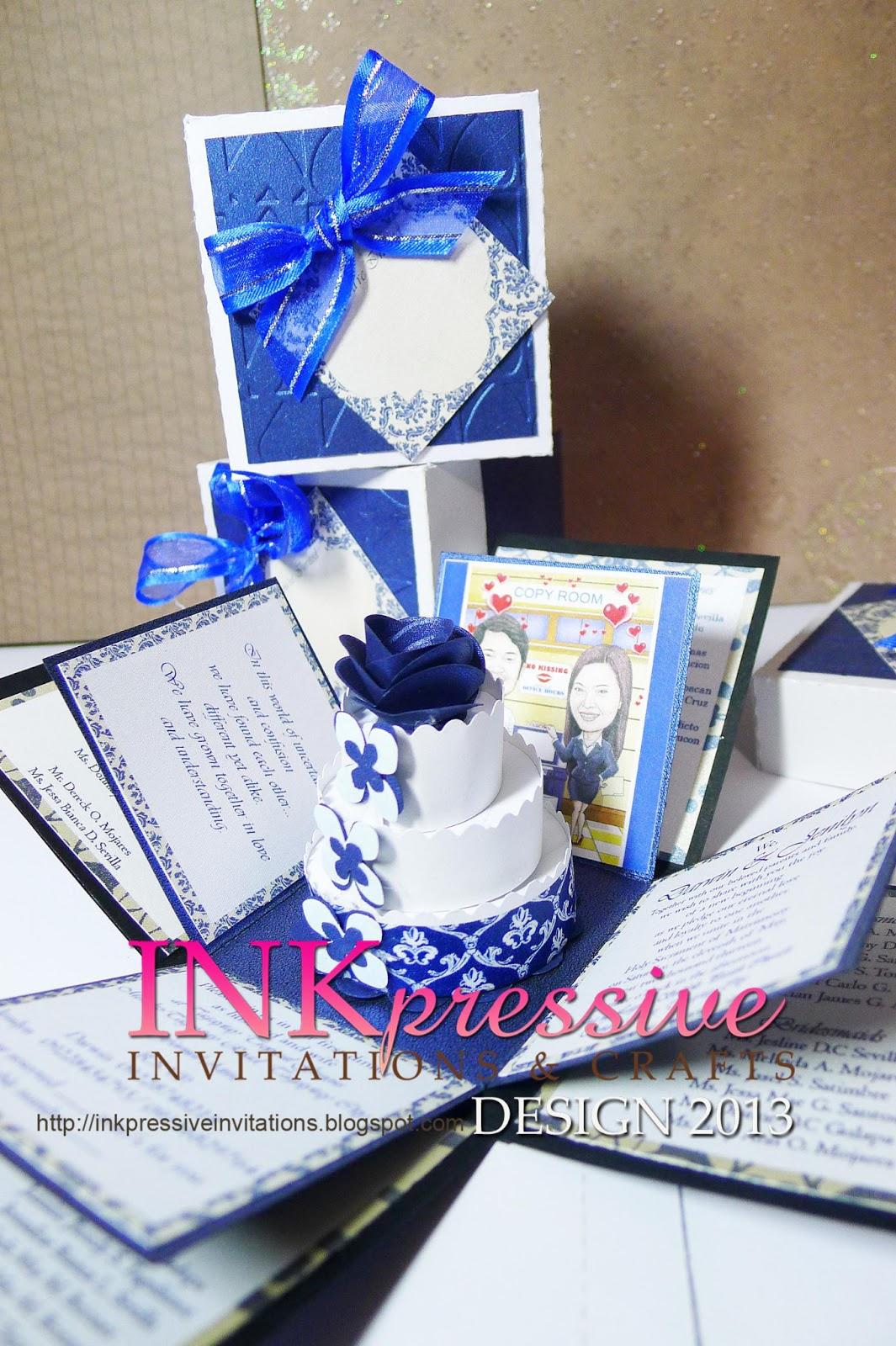 Exploding Box Wedding Invitation blue and white   INKPRESSIVE ...