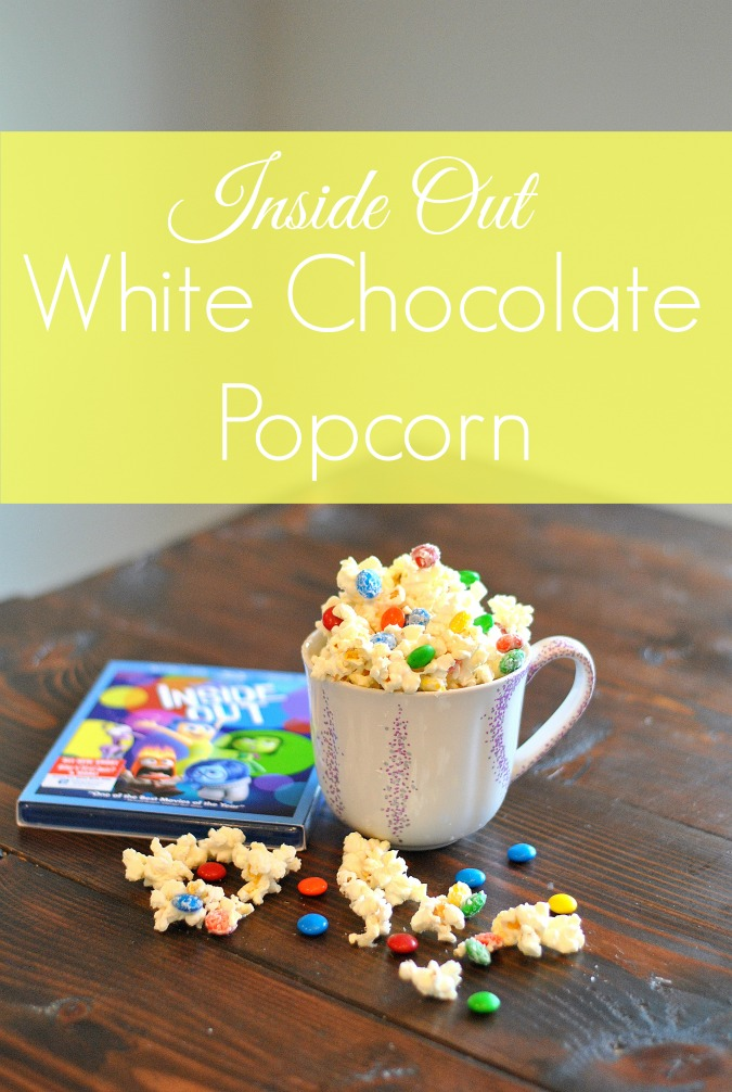 White Chocolate Popcorn with colorful chocolate candy, perfect movie night treat to watch Inside Out!