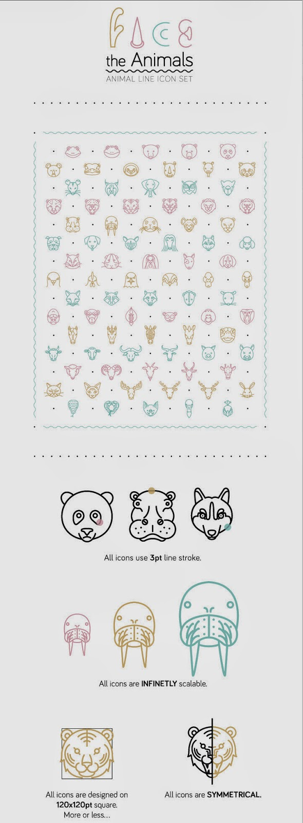 Face the Animals: Animal Line Icon Set