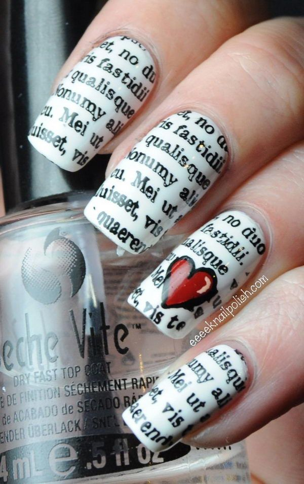 Cool Newspaper Nail Art Idea