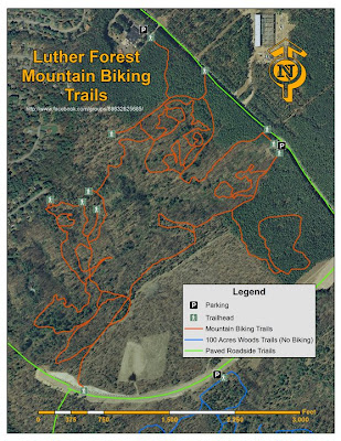 Luther Forest mountain bike trail map from Facebook group.  The Saratoga Skier and Hiker, first-hand accounts of adventures in the Adirondacks and beyond, and Gore Mountain ski blog.