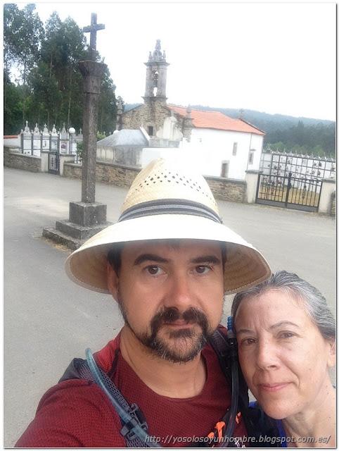 Selfie en el punto de inicio en San Esteban de Cos
