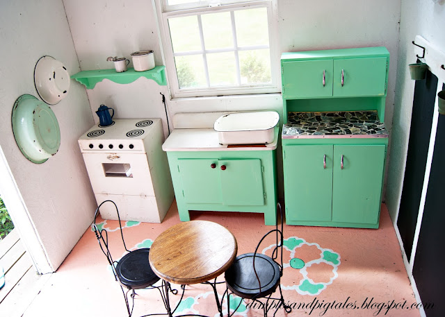 Mint, Coral and black and white. Vintage inspired playhouse makeover