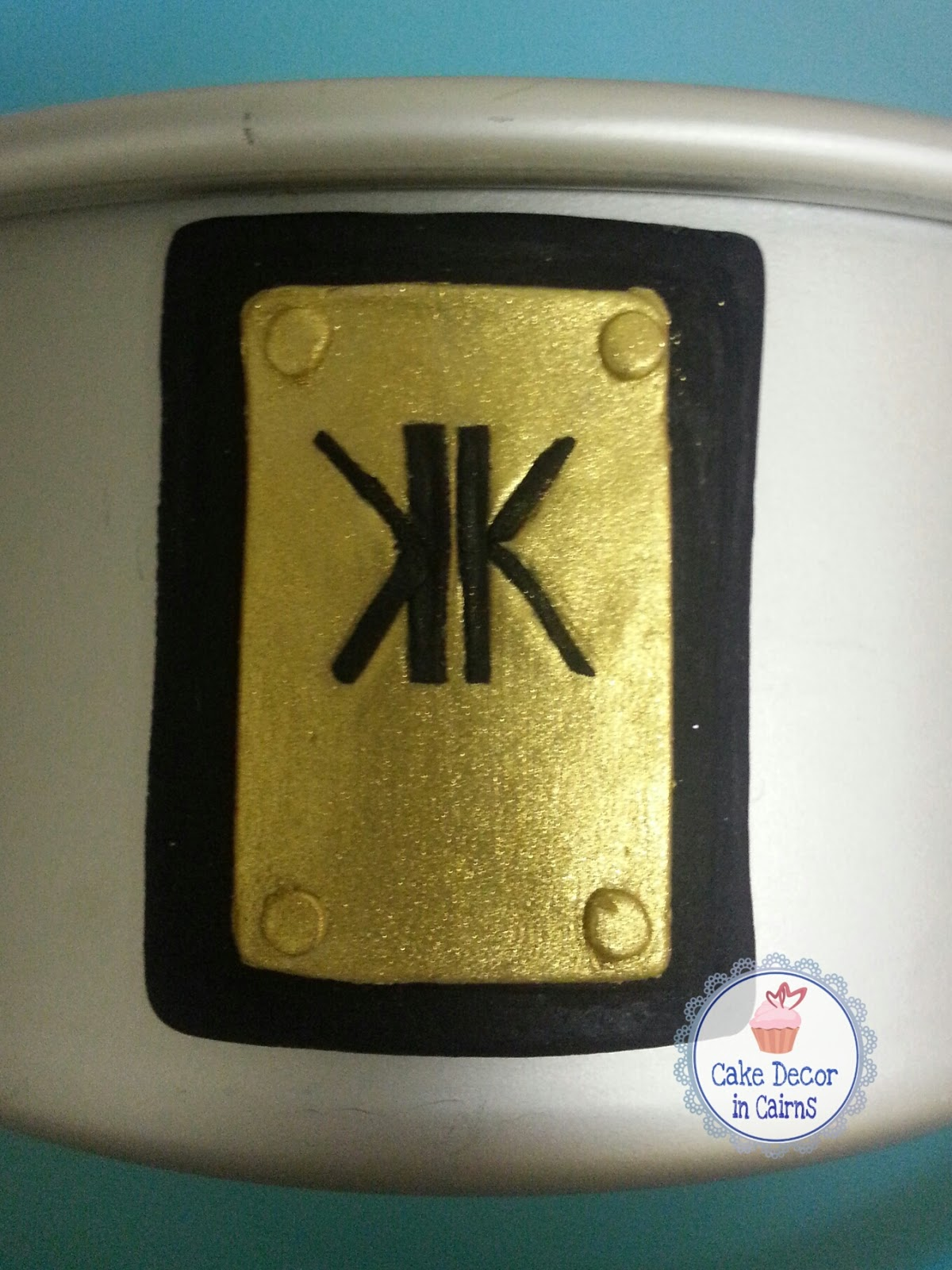 Kardashian Kollection edible Logo inspired fondant accent for birthday cake.