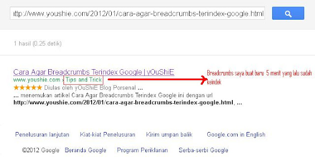 Cara Agar Breadcrumbs Terindex Google