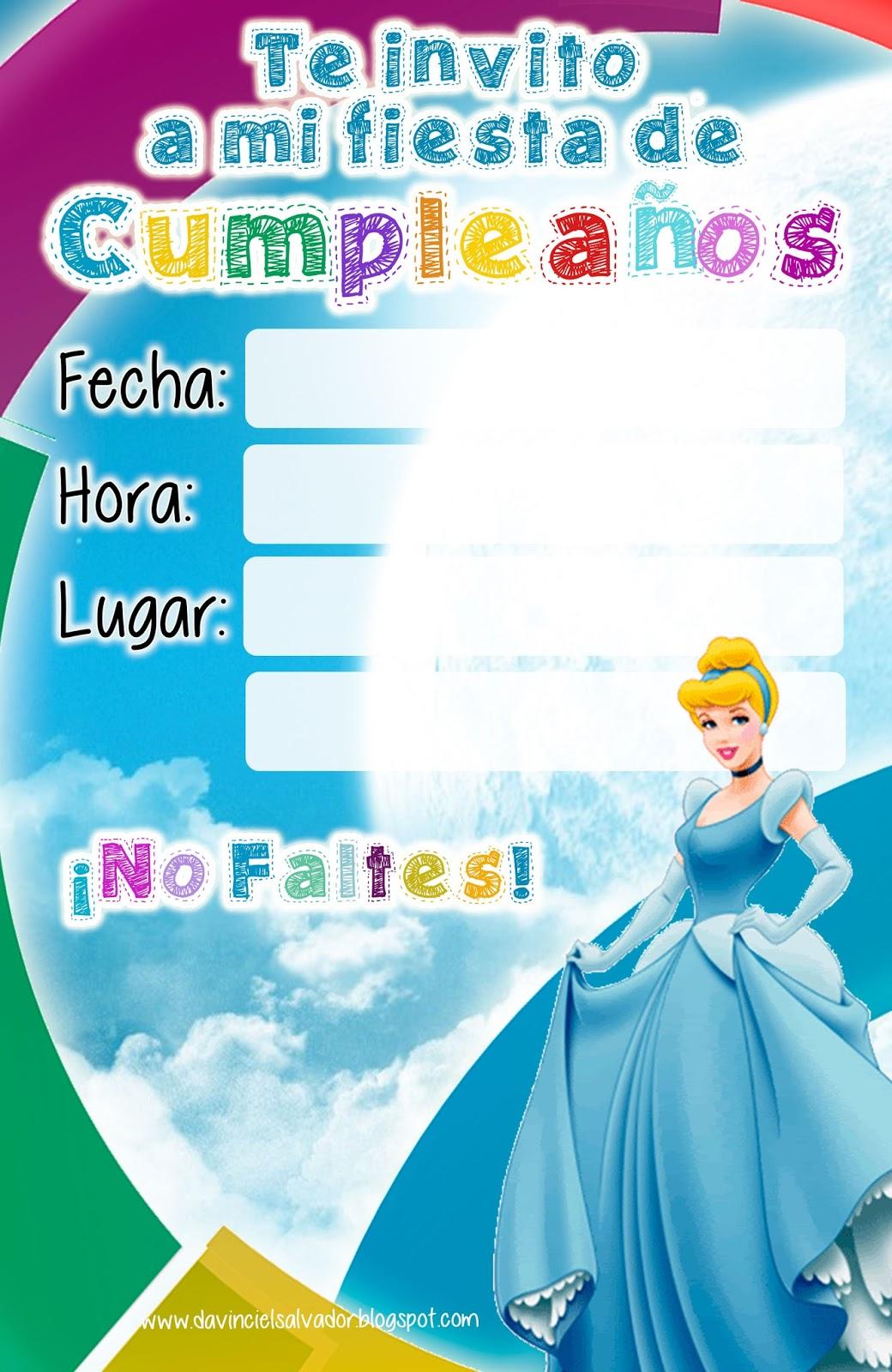 Invitación de Cumpleaños de Cenicienta Princesas Disney