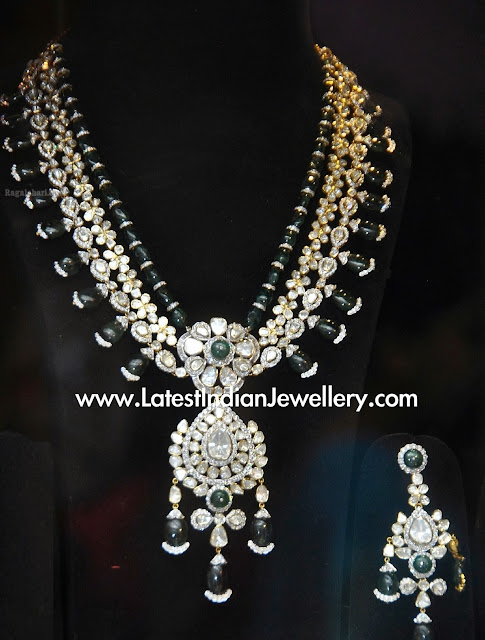 Emeralds Polki Diamond Necklace