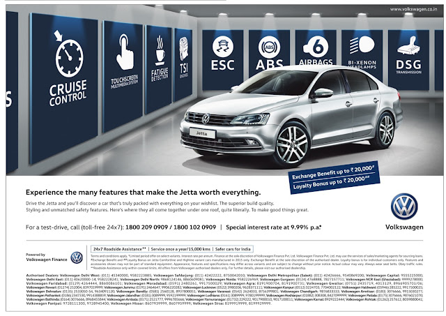 Own Volkswagen Jetta with amazing offers and exchange benefits for the year 2016