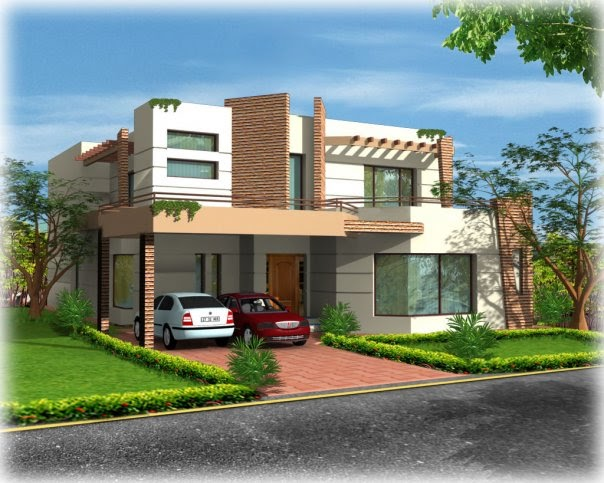 3d front 1 kanal 10 marla plot construction for House garden design india