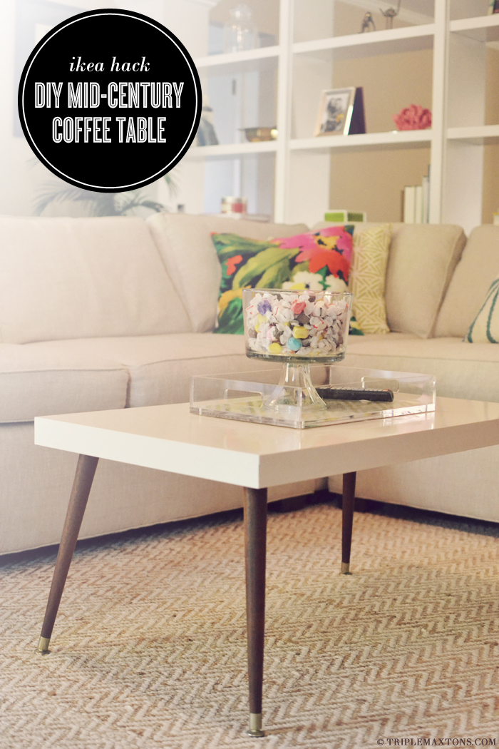 Ikea hack diy mid century modern coffee table triple Ikea hacking