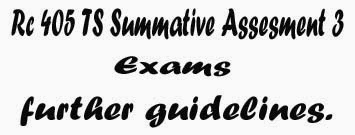 Rc 405 TS Summative Assesment 3 (SA-III) further guidelines.