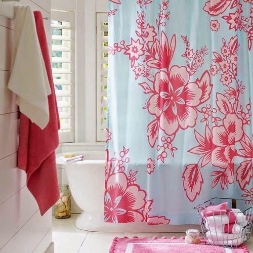shower curtain design with pink flowers