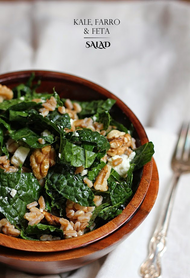 Kale, Farro, and Feta Salad | Savor Home