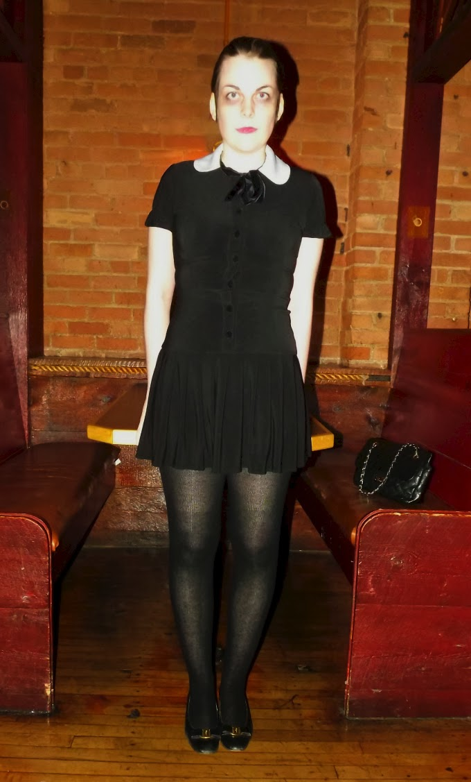 black mini dress, pleated dress, peter pan collar, spooky girl, Wednesday Addams look, A Coin For the Well, Suzanne Amlin, Windsor Ontario fashion blog, style blog