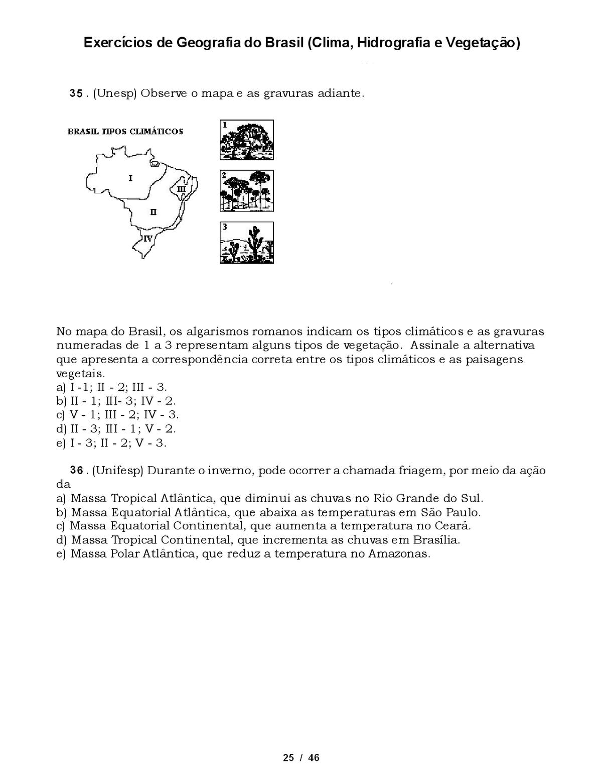 Exercícios geografia 6 ano