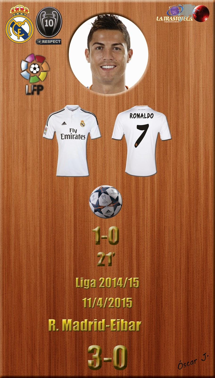 Cristiano Ronaldo (1-0) - Real Madrid 3-0 Eibar - Liga 2014/15 - Jornada 31 - (11/4/2015)